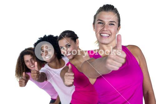 Portrait of happy women with thumbs up