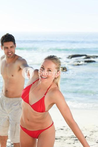Smiling woman with her boyfriend