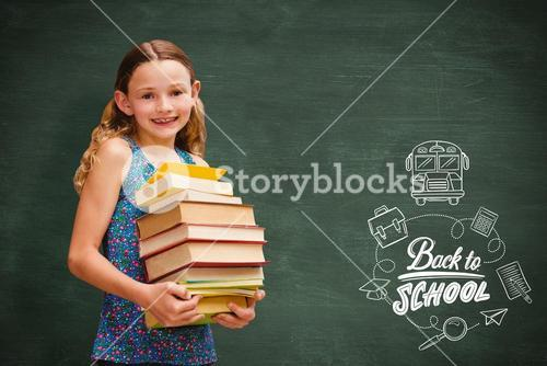 Composite image of cute little girl carrying books in library
