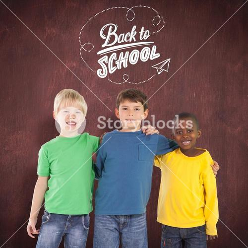 Composite image of cute kids smiling