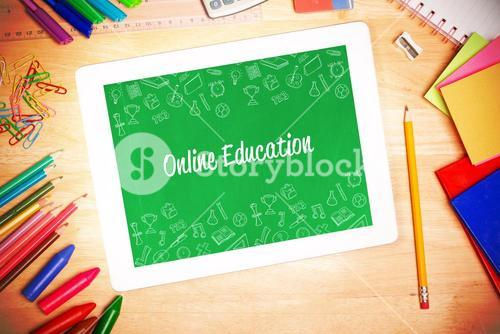 Online education against students desk with tablet pc