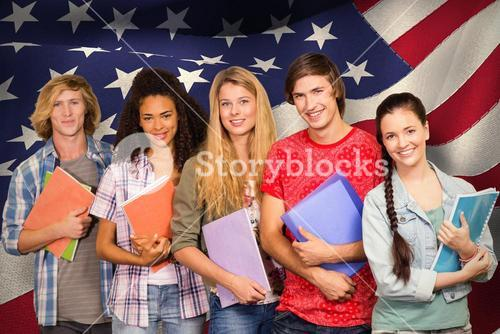 Composite image of college students holding books in library