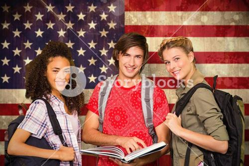 Composite image of college students reading book in library
