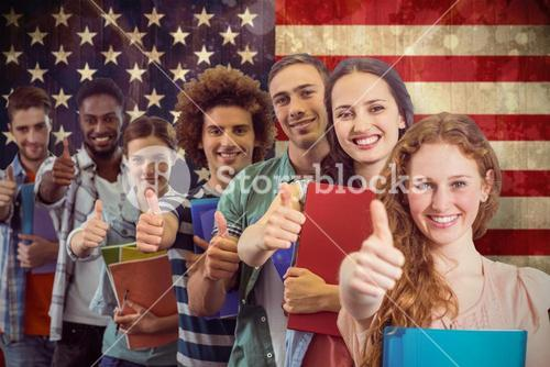 Composite image of fashion students smiling at camera together
