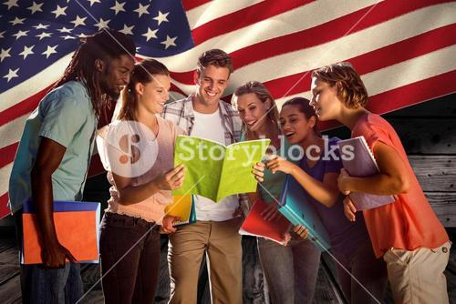 Composite image of happy students outside on campus