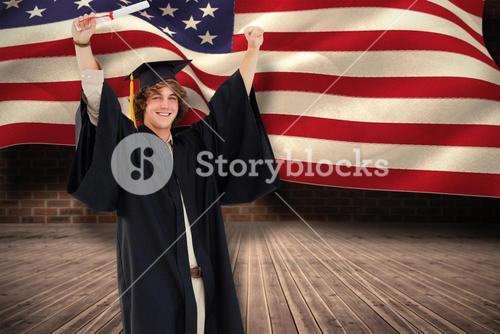 Composite image of male student in graduate robe raising his arms