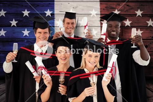 Composite image of group of people graduating from college