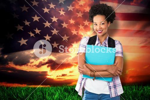 Composite image of casual young woman with folder in office