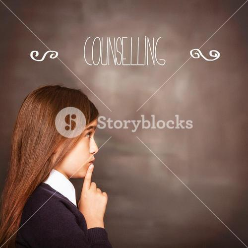 Counselling against cute pupil looking a chalkboard