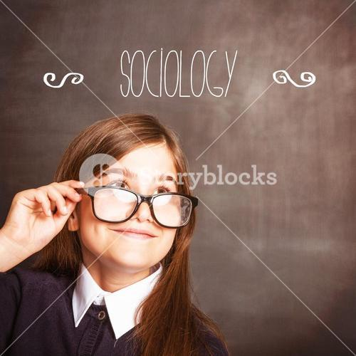 Sociology against cute pupil smiling and looking up