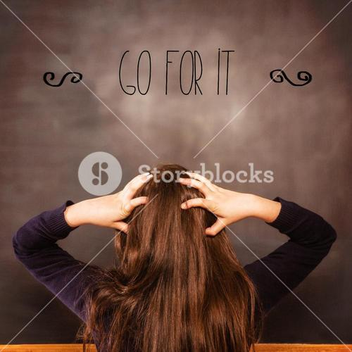 Go for it! against confused pupil looking at chalkboard