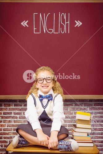 English against red background
