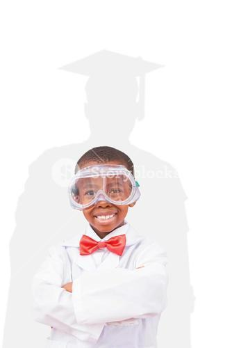 Composite image of pupil dressed up as scientist