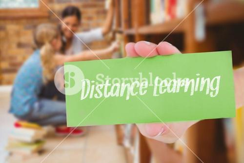 Distance learning against teacher and little girl selecting book in library