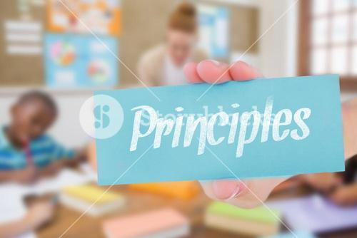 Principles against pretty teacher helping pupils in classroom