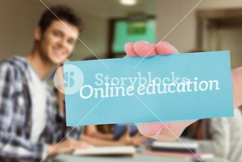 Online education against smiling friends sitting studying and using tablet pc