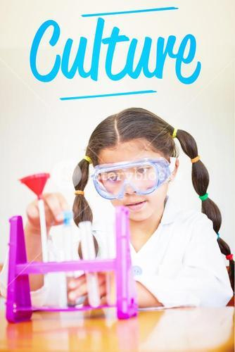 Culture against cute pupil dressed up as scientist in classroom