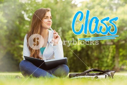 Class against thinking student sitting and holding book