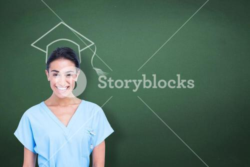 Composite image of young nurse in blue tunic