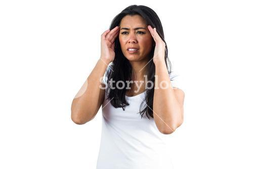 Woman in pain from a migraine