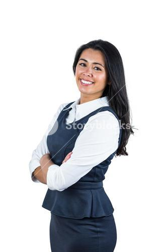 Happy woman with folded arms