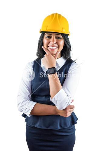 Smiling architect wearing her safety hat