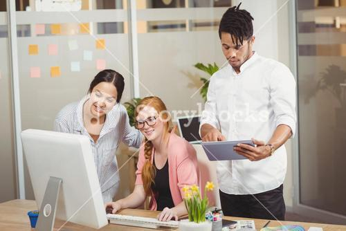 Business people using technologies in office