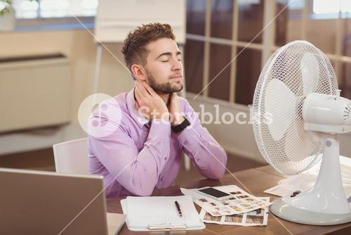 Relax businessman with eyes closed