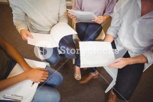 Low section of business people in meeting