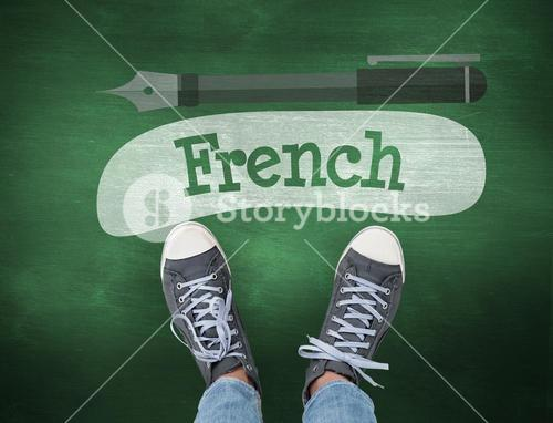 French against green chalkboard