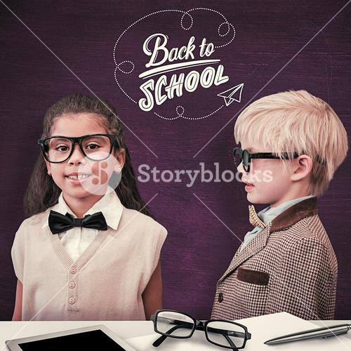 Composite image of cute pupils dressed up as teachers