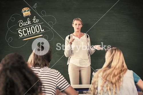 Composite image of teacher teaching students in class