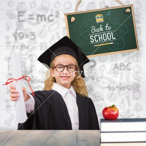 Composite image of schoolgirl with graduation robe and holding her diploma