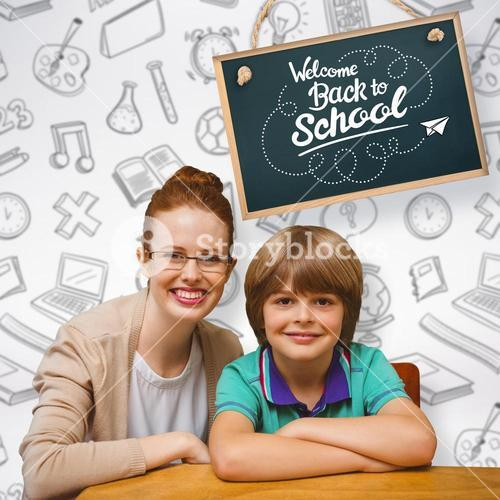Composite image of happy pupil and teacher
