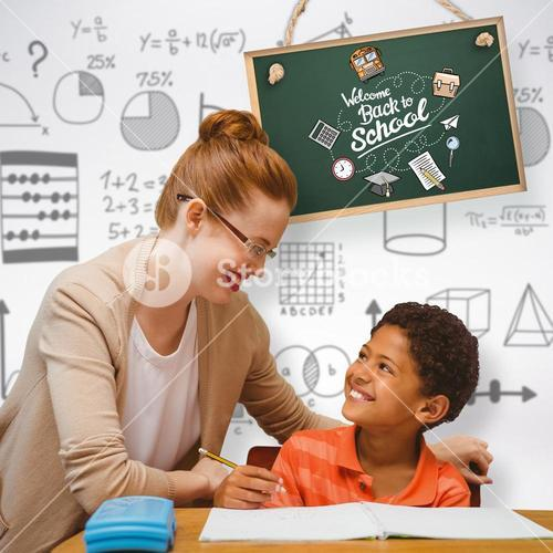 Composite image of teacher helping pupil