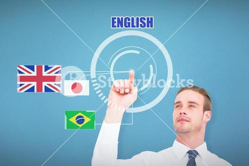 Composite image of cheerful businessman pointing with his finger