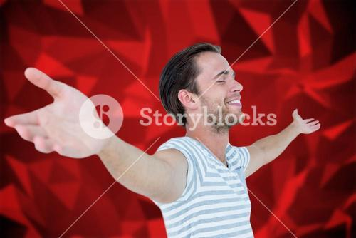 Composite image of smiling man standing arms outstretched