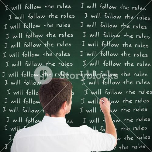 Composite image of business man writing with chalk