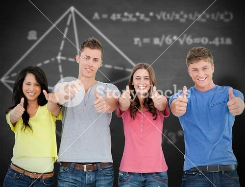 Composite image of four people standing beside each other give thumbs up