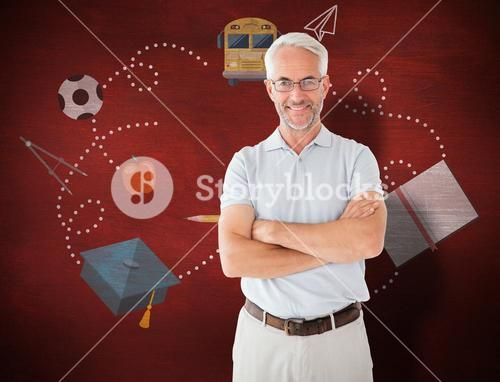 Composite image of mature student smiling