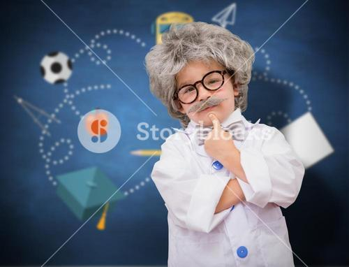 Composite image of cute pupil in lab coat