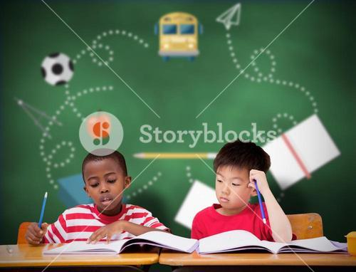 Composite image of cute pupils writing at desk in classroom