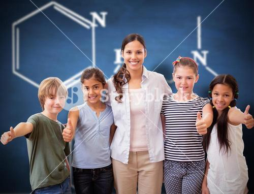 Composite image of cute pupils and teacher smiling at camera in computer class