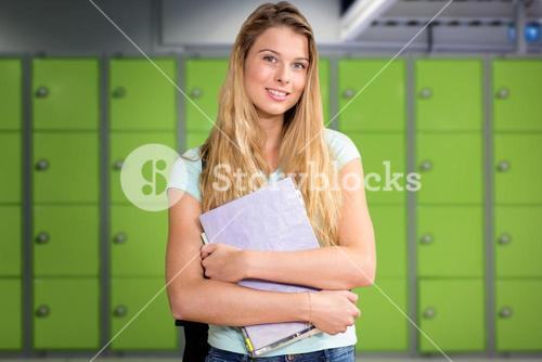 Composite image of happy student