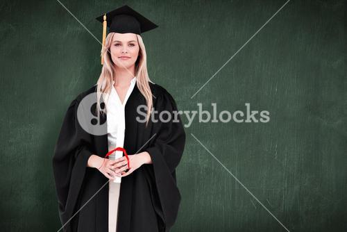 Composite image of blonde student in graduate robe