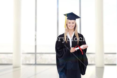 Composite image of smiling blonde student in graduate robe holding her diploma