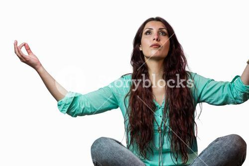 Woman levitating with arms raised