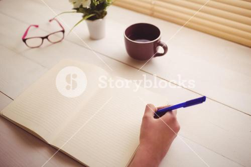 Businesswoman writing notes in book