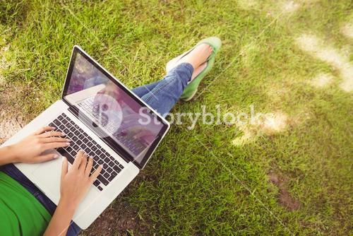 Low section of woman using laptop in park