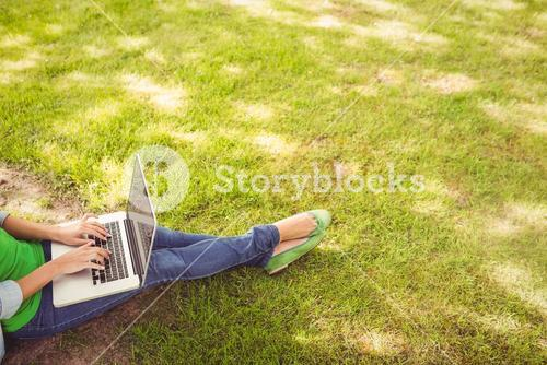 High angle view of woman using laptop